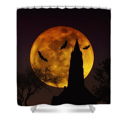 Halloween Moon Shower Curtain by Bill Cannon