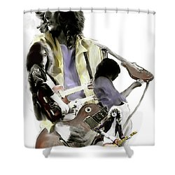 Hammer Of The Gods   Jimmy Page Shower Curtain by Iconic Images Art Gallery David Pucciarelli