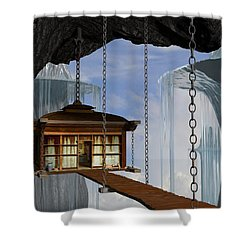 Hanging House Shower Curtain by Cynthia Decker