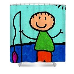 Happi Arte 2 - Boy Fish Art Shower Curtain by Sharon Cummings