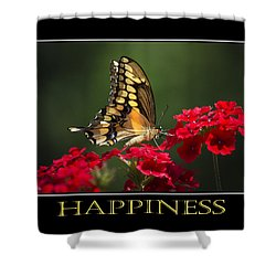 Happiness Inspirational Poster Art Shower Curtain by Christina Rollo