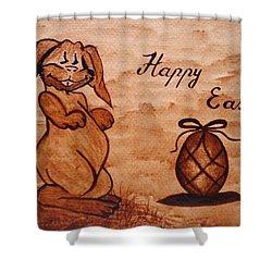 Happy Easter Coffee Painting Shower Curtain by Georgeta  Blanaru