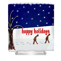 Happy Holidays 5 Shower Curtain by Patrick J Murphy
