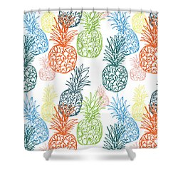 Happy Pineapple- Art By Linda Woods Shower Curtain by Linda Woods