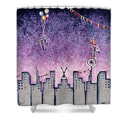Harlequins Festival Shower Curtain by Graciela Bello