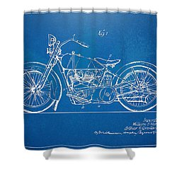 Harley-davidson Motorcycle 1928 Patent Artwork Shower Curtain by Nikki Marie Smith