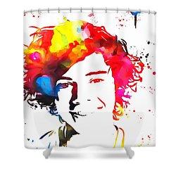 Harry Styles Paint Splatter Shower Curtain by Dan Sproul