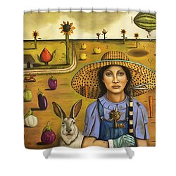 Harvey And The Eccentric Farmer Shower Curtain by Leah Saulnier The Painting Maniac