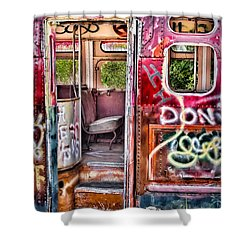Haunted Graffiti Art Bus Shower Curtain by Susan Candelario