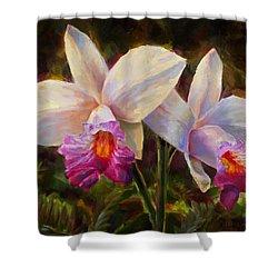 Hawaiian Bamboo Orchid Shower Curtain by Karen Whitworth
