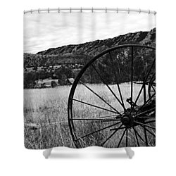 Hay Rake At The Ewing-snell Ranch Shower Curtain by Larry Ricker