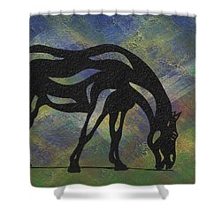 Hazel - Abstract Horse Shower Curtain by Manuel Sueess