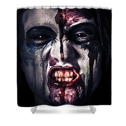 Head Shot On A Pure Evil Zombie Girl Shower Curtain by Jorgo Photography - Wall Art Gallery