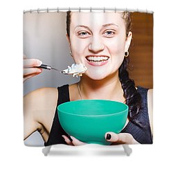 Healthy And Happy Woman Eating Morning Breakfast Shower Curtain by Jorgo Photography - Wall Art Gallery