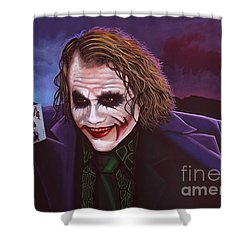 Heath Ledger As The Joker Painting Shower Curtain by Paul Meijering