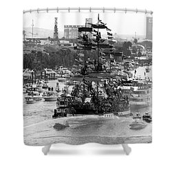 Here Come The Pirates Shower Curtain by David Lee Thompson