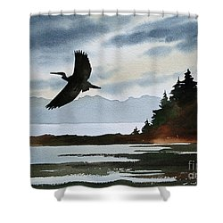 Heron Silhouette Shower Curtain by James Williamson