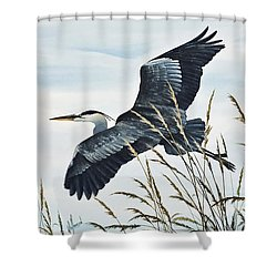 Herons Flight Shower Curtain by James Williamson