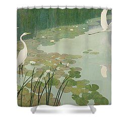 Herons In Summer Shower Curtain by Newell Convers Wyeth