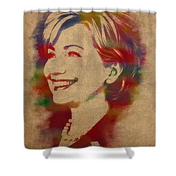Hillary Rodham Clinton Watercolor Portrait Shower Curtain by Design Turnpike