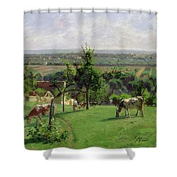 Hillside Of Vesinet Shower Curtain by Camille Pissarro