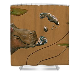 Hippo Bubbles Shower Curtain by Juan  Bosco