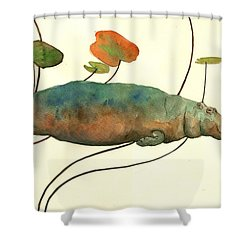 Hippo Swimming With Water Lilies Shower Curtain by Juan  Bosco