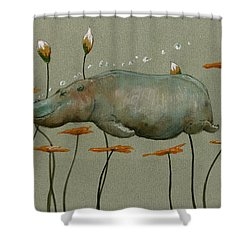 Hippo Underwater Shower Curtain by Juan  Bosco