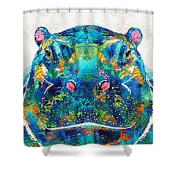 Hippopotamus Art - Happy Hippo - By Sharon Cummings Shower Curtain by Sharon Cummings