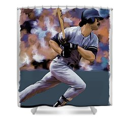 Hit Man  Don Mattingly  Shower Curtain by Iconic Images Art Gallery David Pucciarelli