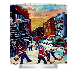 Hockey Paintings Of Montreal St Urbain Street City Scenes Shower Curtain by Carole Spandau