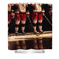 Hockey Reflection Shower Curtain by Karol Livote