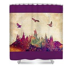 Hogwarts Castle Watercolor Art Print Shower Curtain by Svetla Tancheva