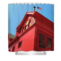 Holland Harbor Light From The Bottom Up Shower Curtain by Michelle Calkins