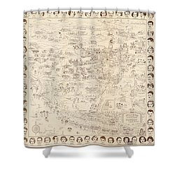 Hollywood Map To The Stars 1937 Shower Curtain by Don Boggs