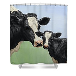 Holstein Cow And Calf Shower Curtain by Crista Forest