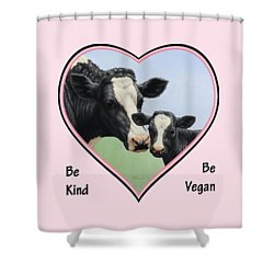 Holstein Cow And Calf Pink Heart Vegan Shower Curtain by Crista Forest