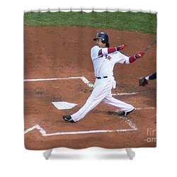 Homerun Swing Shower Curtain by Kevin Fortier
