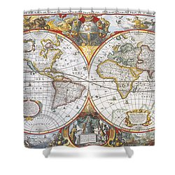 Hondius World Map, 1630 Shower Curtain by Photo Researchers