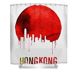 Hong Kong Skyline Red Shower Curtain by Naxart Studio