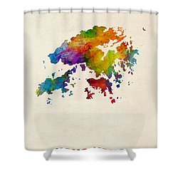 Hong Kong Watercolor Map Shower Curtain by Michael Tompsett
