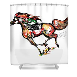 Horse Racing In Fast Colors Shower Curtain by Stacey Mayer