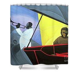 Hot And Cool Jazz Shower Curtain by Kaaria Mucherera