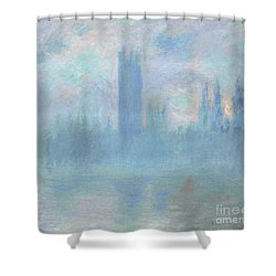 Houses Of Parliament  London Shower Curtain by Claude Monet