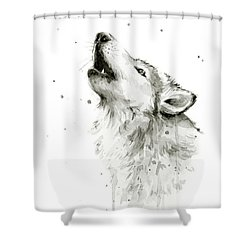 Howling Wolf Watercolor Shower Curtain by Olga Shvartsur