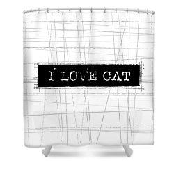 I Love Cat Word Art Shower Curtain by Kathleen Wong