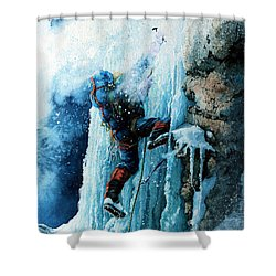 Ice Climb Shower Curtain by Hanne Lore Koehler