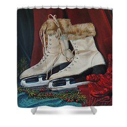 Ice Skates And Mittens Shower Curtain by Patty Kay Hall