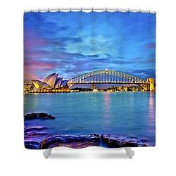 Icons Of Sydney Harbour Shower Curtain by Az Jackson