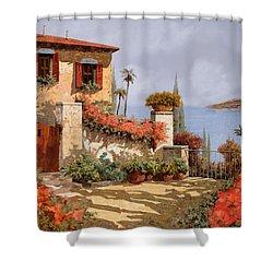 Il Giardino Rosso Shower Curtain by Guido Borelli